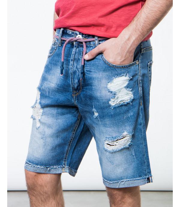 Bermuda jeans con strappi e laccio