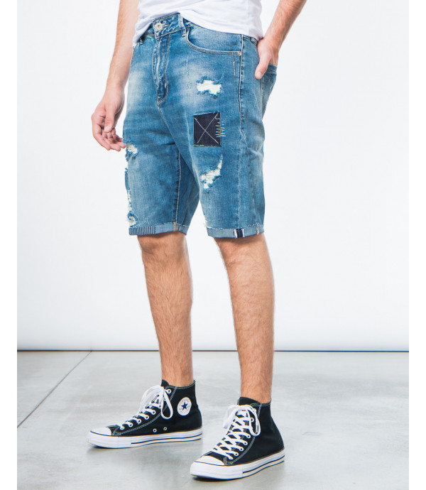 Shorts denim con patch
