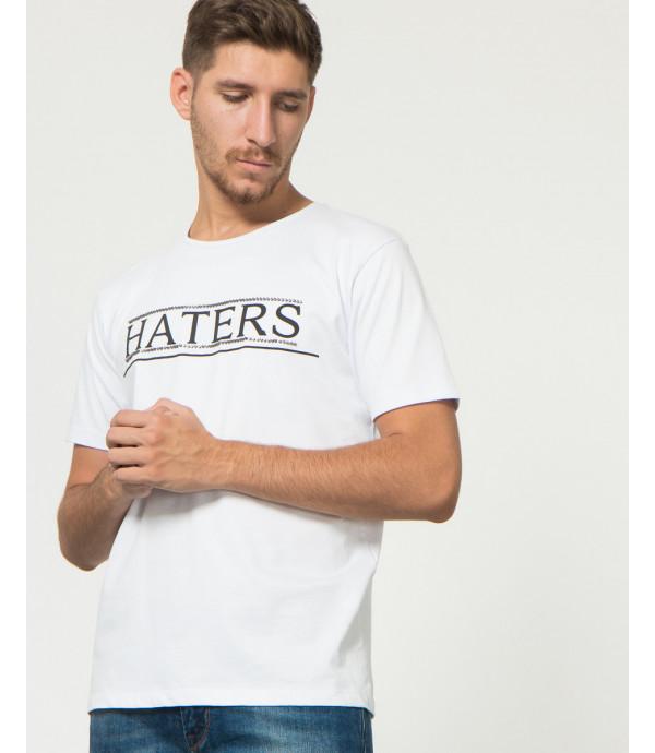 T-shirt con stampa e borchie