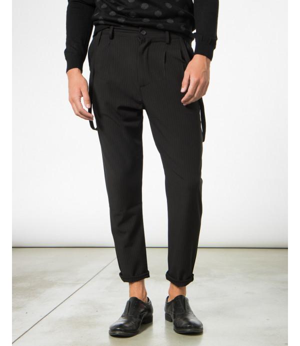 Pantaloni gessatti con lacci e pinces