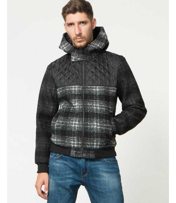 Bomber in lana cotta con cappuccio