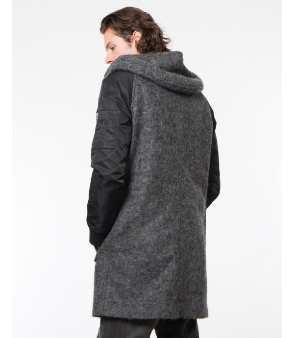 Cappotto con cappuccio in lana cotta