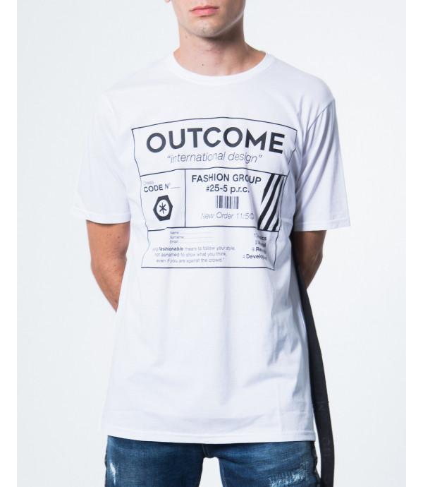 T-shirt con stampa e banda OUTCOME