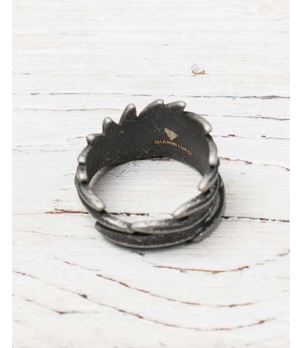 Anello piume in metallo