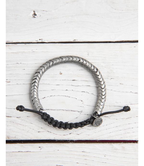 Braccialetto in corda e metallo