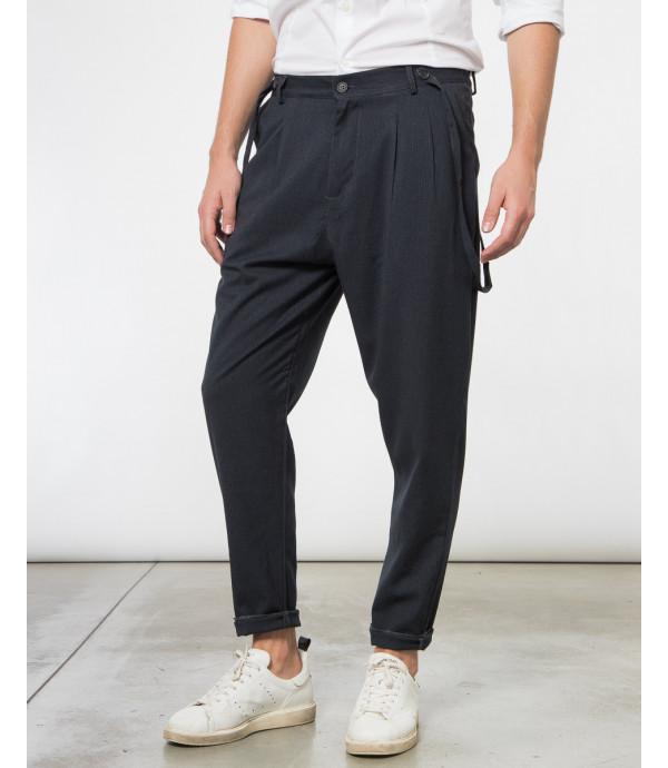 Pantaloni gessati con lacci