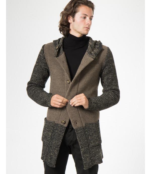 Cardigan in maglia con cappuccio