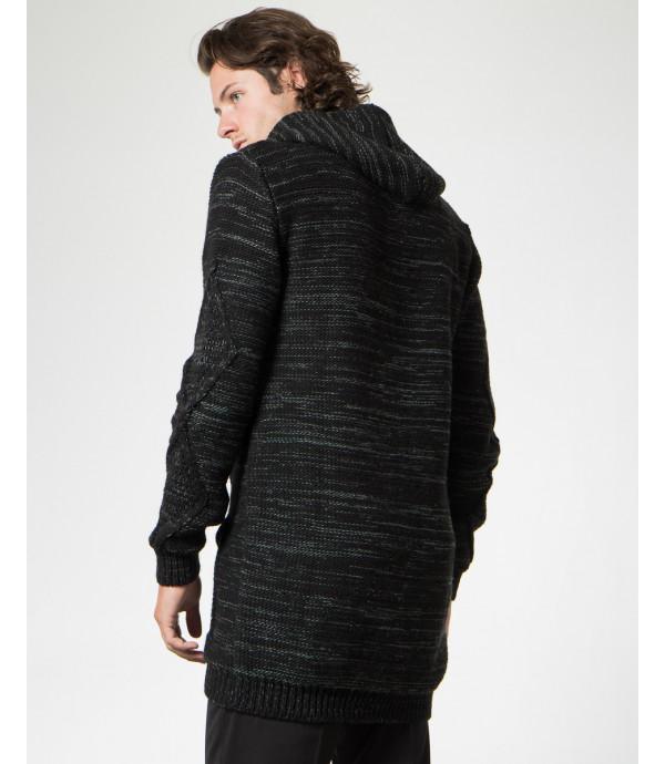 Cardigan in maglia con zip e cappuccio