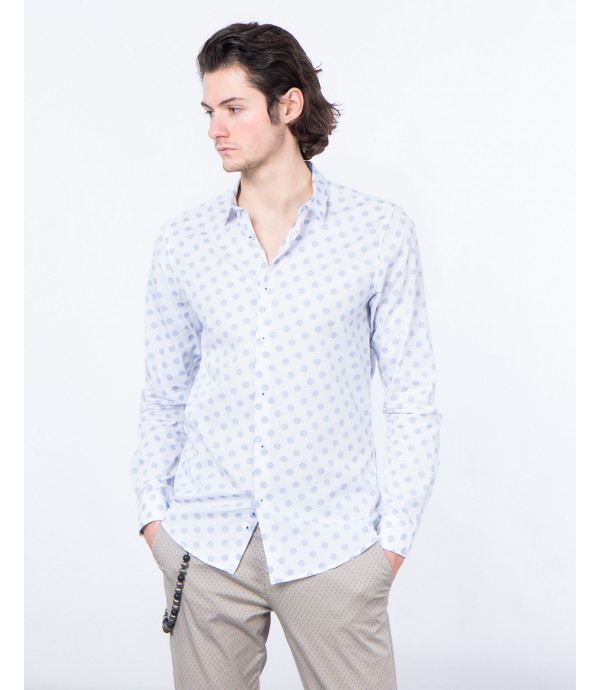 Camicia slim fit a pois