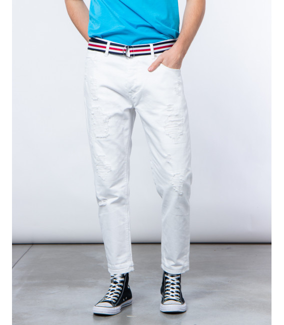 Jeans carrot fit bianchi con strappi