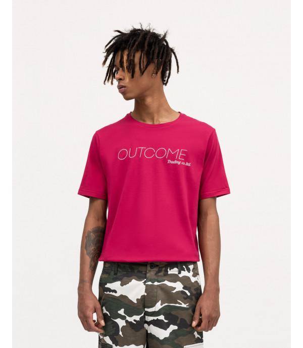 T-shirt magenta con stampe OUTCOME