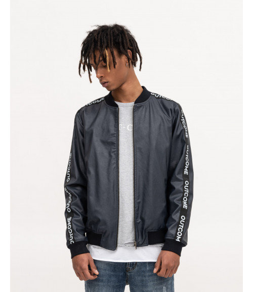 Faux-leather bomber in blue