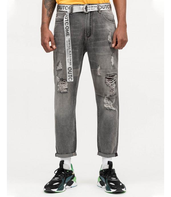 Jeans grigi carrot fit con strappi e cintura