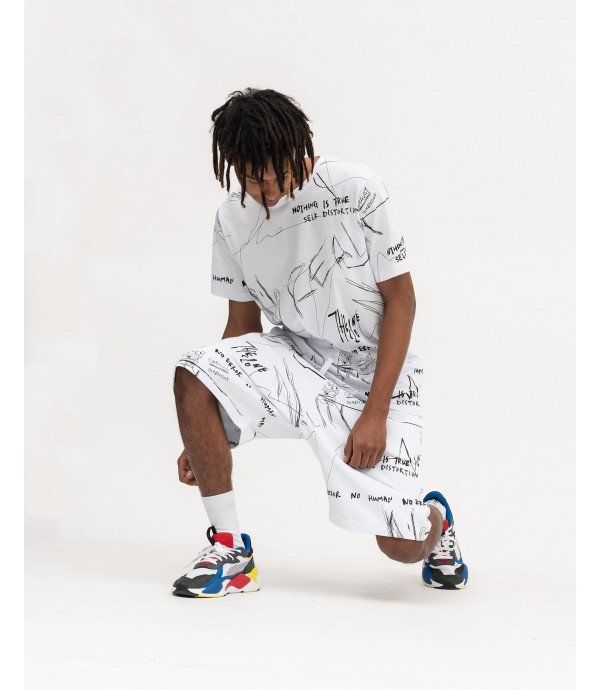 Shorts in felpa con stampa graffiti