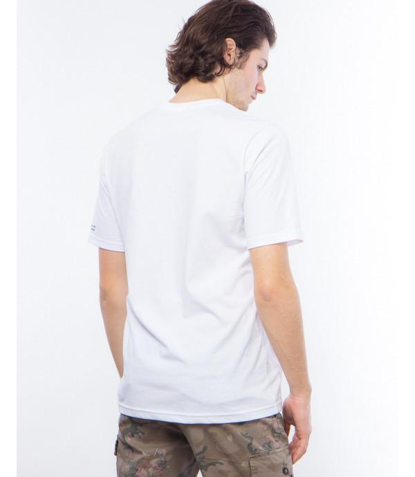 T-shirt con scollo a V e stampa