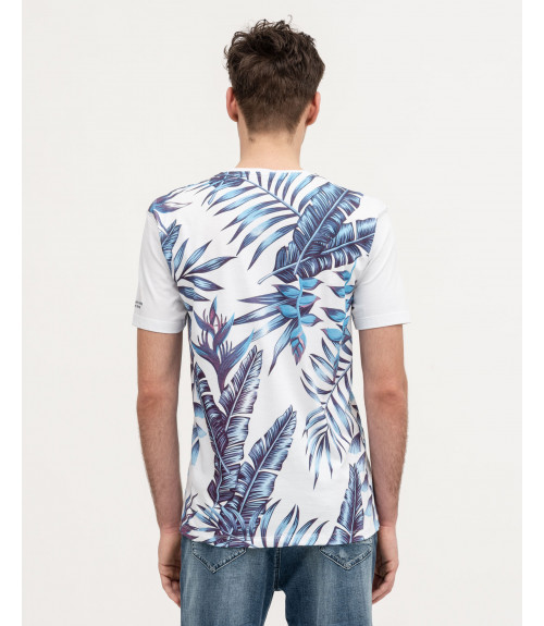 T-shirt con stampa tropicale