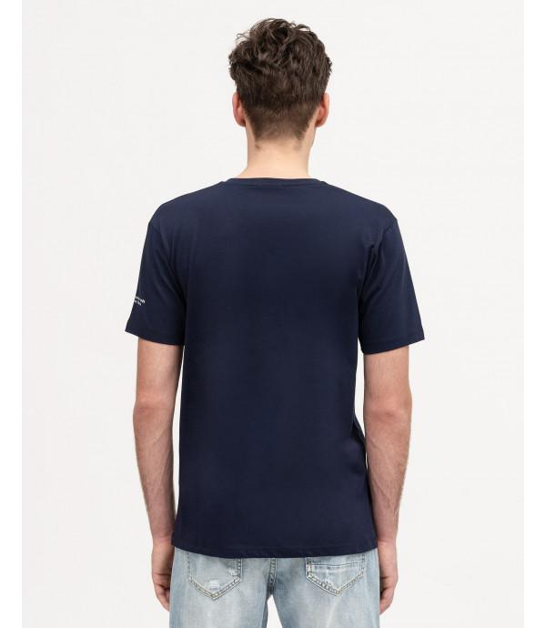 T-shirt con scollo a V e applicazioni