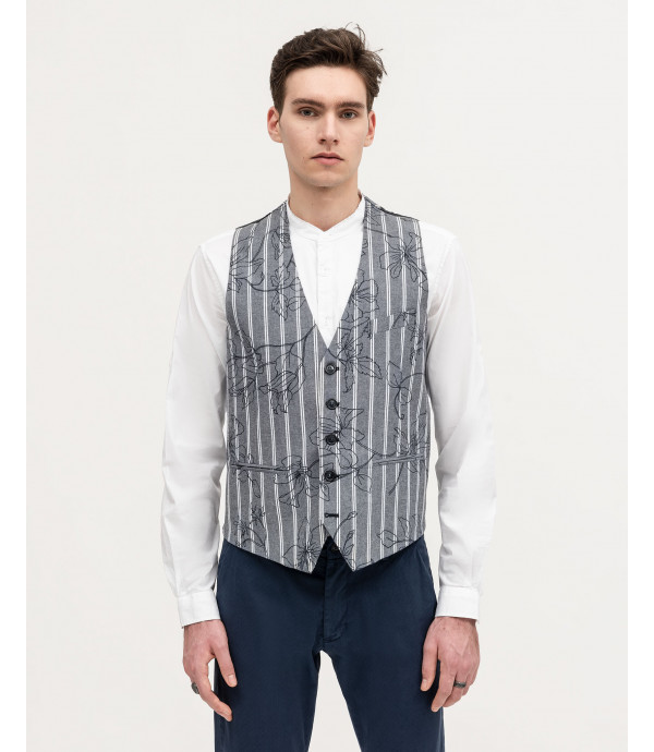 Floral print striped waistcoat