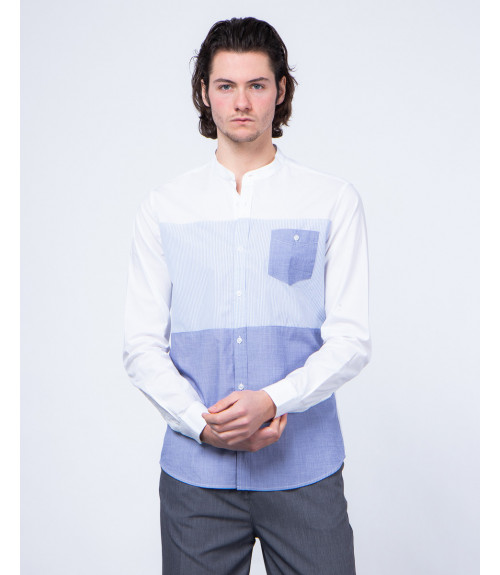 Fabric block mandarin shirt