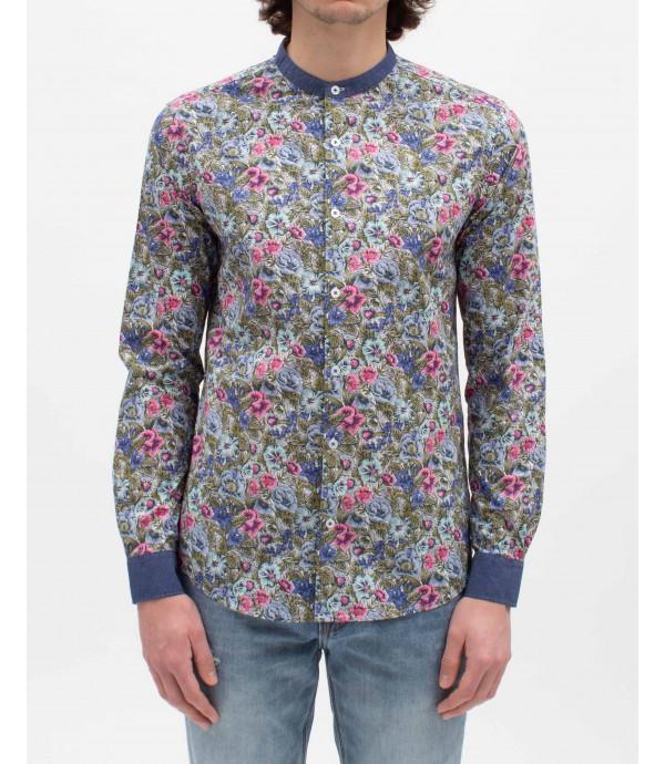 Floral print mandarin collar shirt