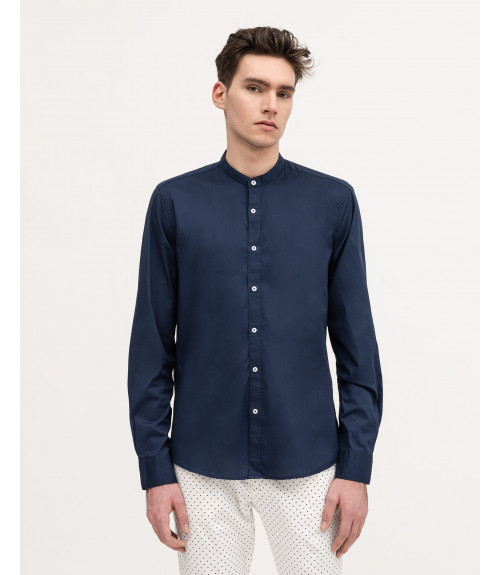 Basic slim fit shirt with mandarin collar