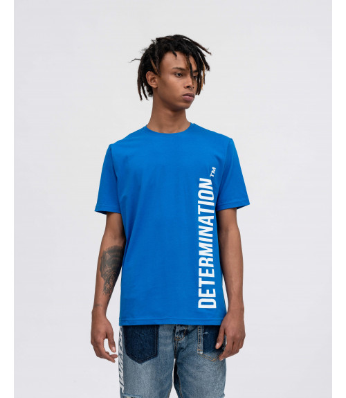 Royal blue t-shirt with OUTCOME prints