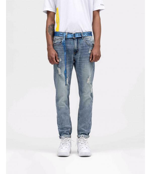 Jeans regular fit con strappi con cintura industriale