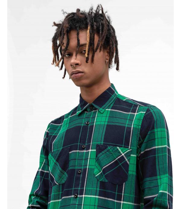 Overshirt a quadri verde