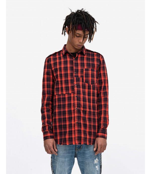 Orange checked overshirt