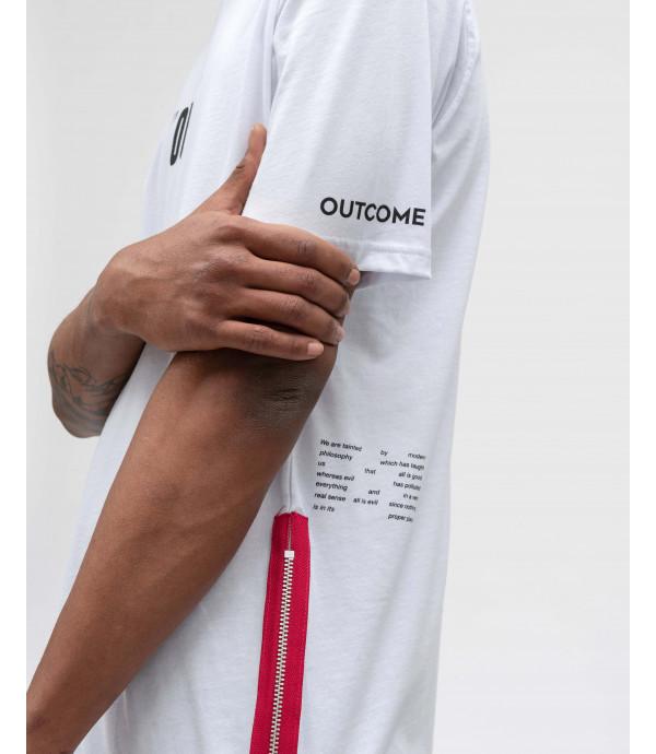 T-shirt con stampe OUTCOME dettaglio zip
