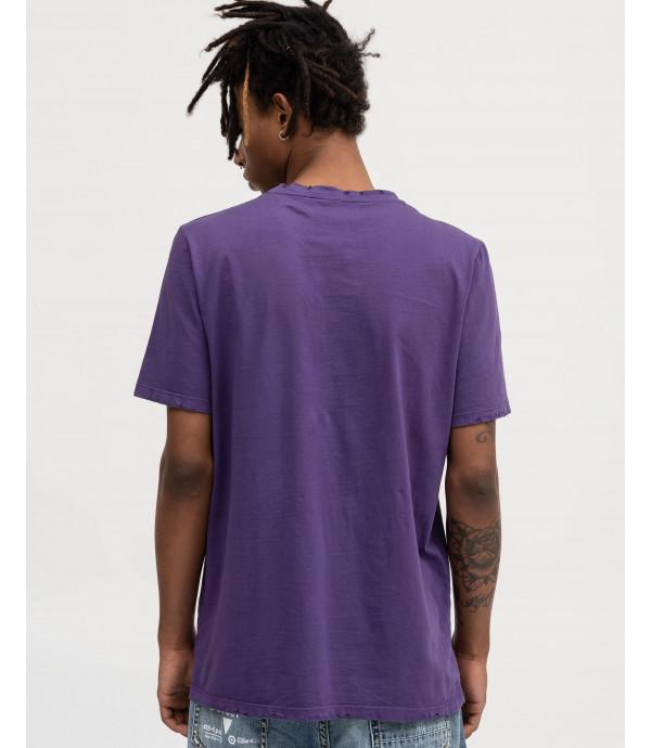 T-shirt viola con stampa