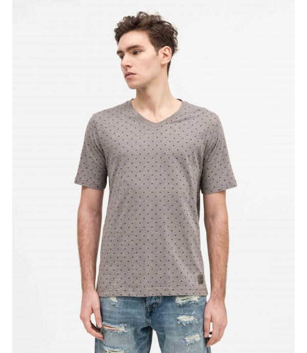 T-shirt a pois con scollo a V