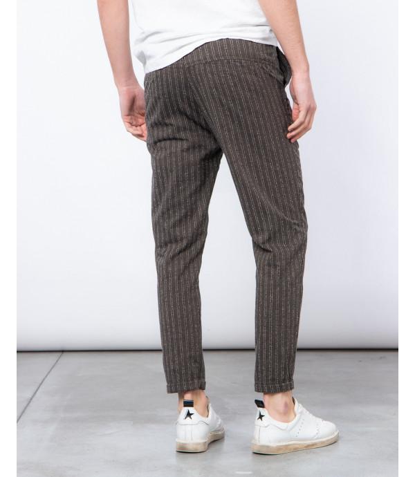 Pantalone con laccio slim fit a righe