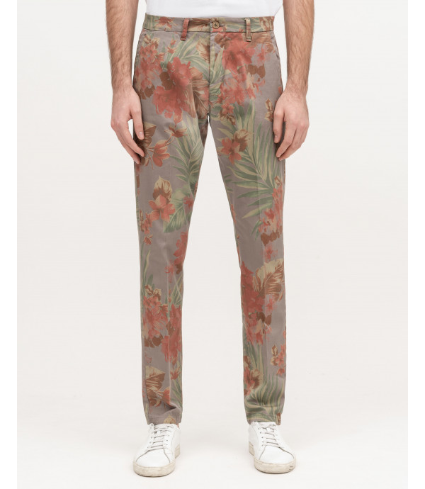Floral print slim fit chinos