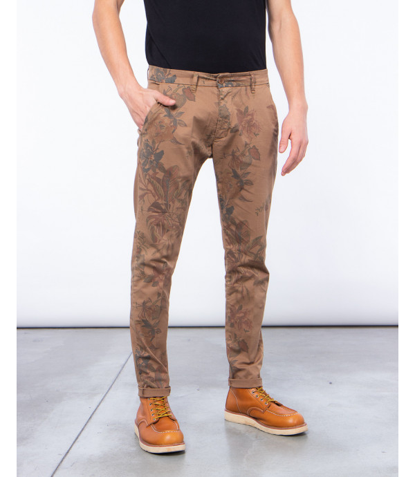Printed slim fit trousers