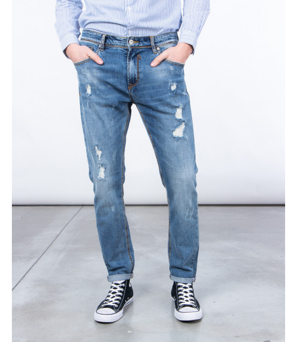 Regular fit jeans with rips