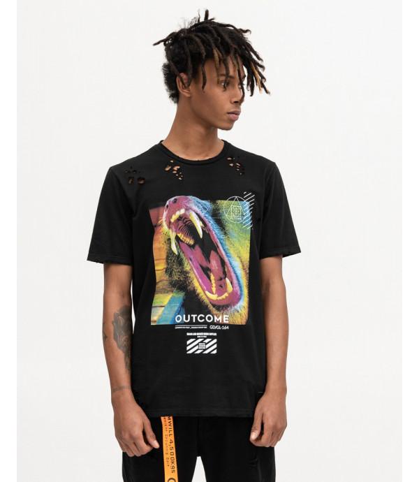 T-shirt nera con stampa