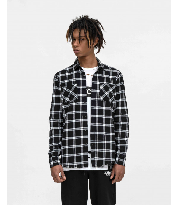 Black and white checked overshirt