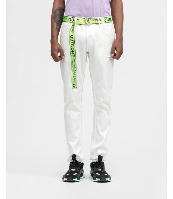 Jeans slim fit bianchi con cintura OUTCOME