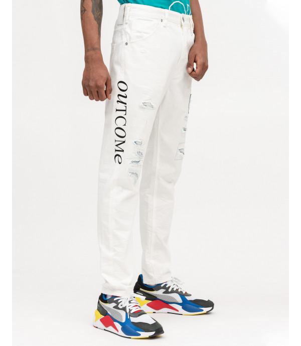 Jeans bianco con stampe e rammendi