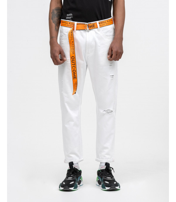 Carrot fit jeans with rips and OUTCOME belt