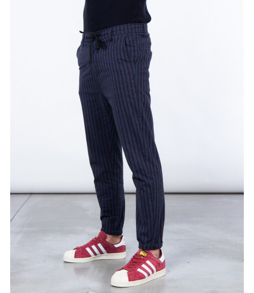 Striped slim fit drawstring trousers