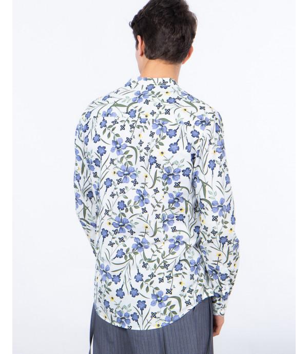 Mandarin collar shirt with floral print