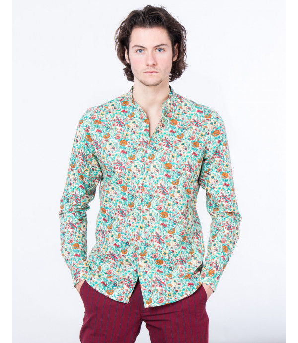 Mandarin collar shirt with floral print