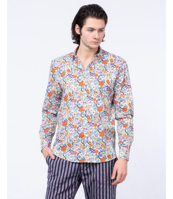 Slim fit floral patterned shirt