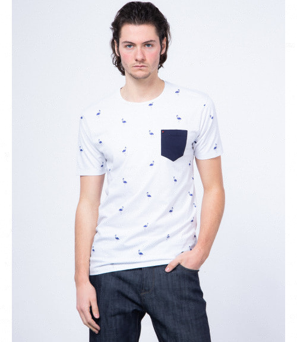 T-shirt con taschino stampa fenicottero