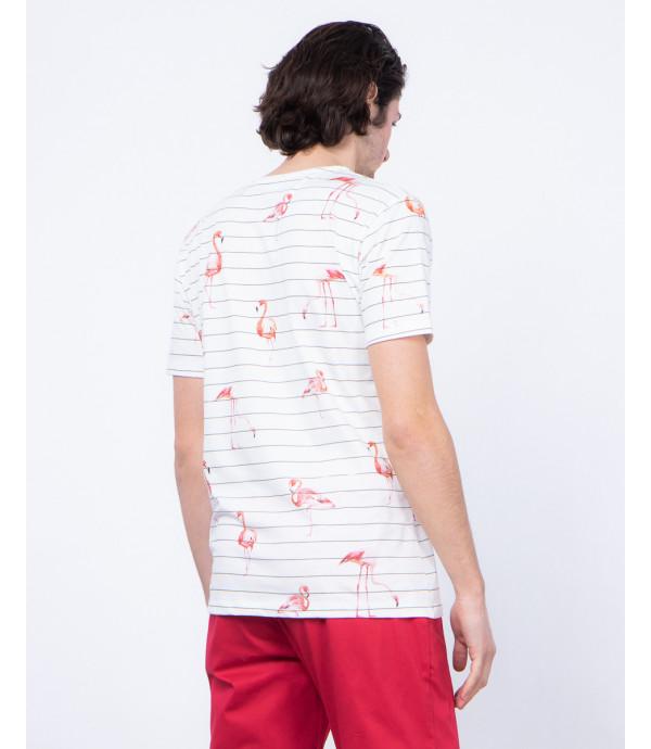 T-shirt a righe con taschino stampa fenicottero