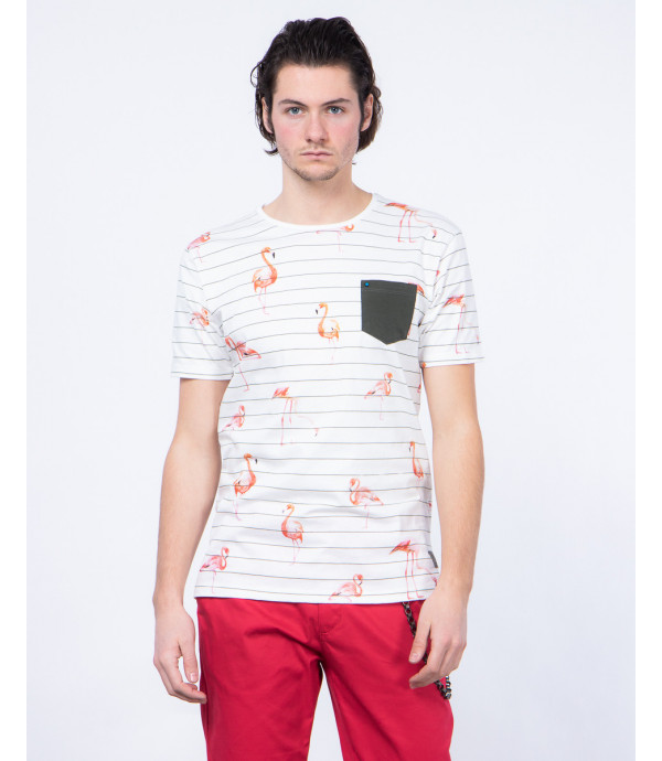 Striped t-shirt with flamingo print and pocket