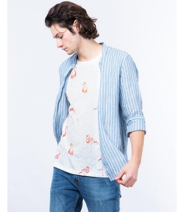T-shirt con stampa fenicottero
