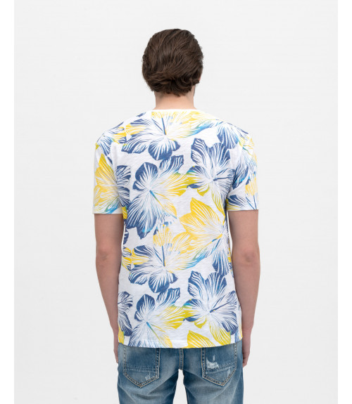 Tropical print V-neck t-shirt